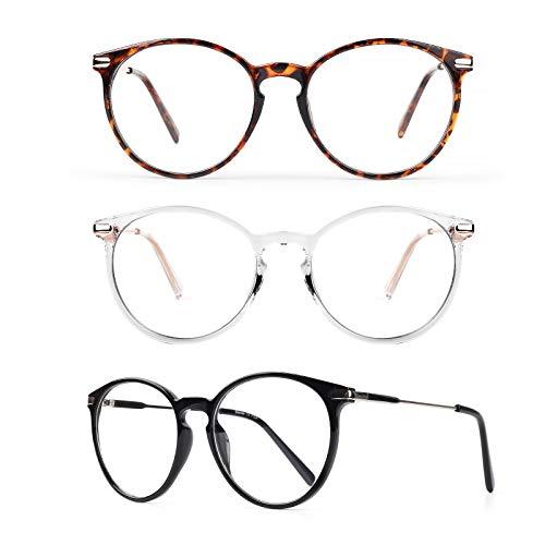 3 Gafas Anti Luz Azul Mujer Hombre - Baytion Gafas Filtro Azul Para Computadora Para PC y TV Con Marco TR90 Protección 100% UV, Sin Receta y Ati Fatiga Visual