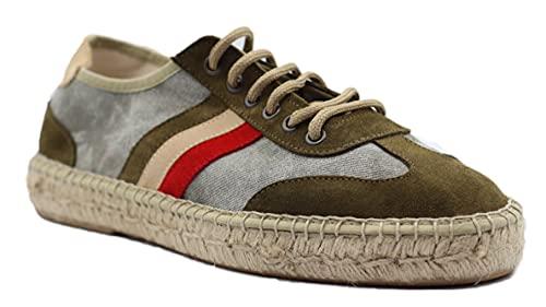 Casual 147 Zapatillas Detroit de Piel Textil y Suela Esparto Fabricado en España Hombre (Kaki, 43)