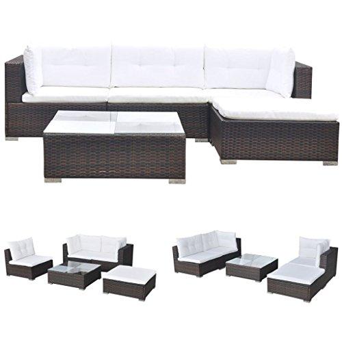 vidaXL Conjunto de Muebles de Jardín 5 Piezas Ratán Sintético Marrón Juego Comedor Exterior Mesa y Sillas Patio Porche Terraza Material Estilo Mimbre