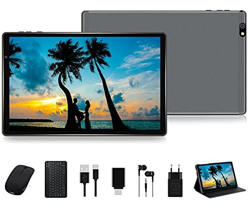 FACETEL Tablet 10 Pulgadas HD Android 10 Pro Tablet PC Octa-Core 1.6 GHz 4GB + 64GB (TF 128GB), Tableta con Teclado y Mouse, Google GMS, Cámara Dual, Bluetooth 4.0   Hotspot Móvil   WiFi - Gris