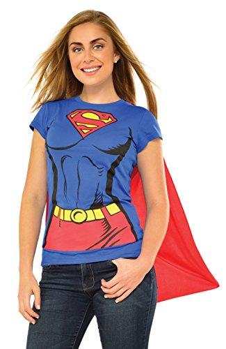 Rubies Juego de camiseta oficial de DC Comic Supergirl, kit de disfraz instantáneo para mujer – camiseta y capa adjunta, tamaño pequeño para mujer