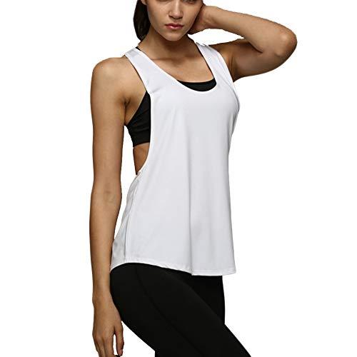 Camiseta Tirantes sin Mangas de Deporte para Mujer Verano, Tank Top Clásico Chaleco para Fitness Gimnasio Yoga Colores Opcionales Camiseta de Pijama Dormir (M, Blanco)