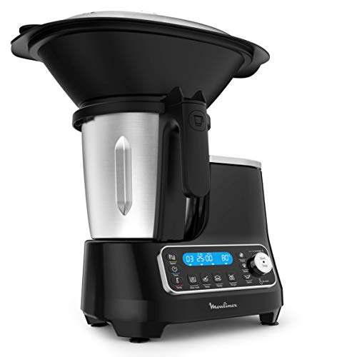 Moulinex ClickChef HF4SPR30 - Robot de cocina multifunción 3.6 l - 5 programas Auto, temperatura de 30 a 120 ºC, 12 velocidades, 1400 W, 32 funciones, báscula, vaporera Negro (Reacondicionado)