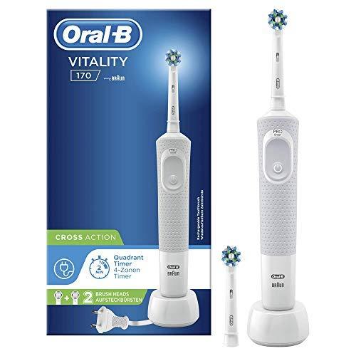 Oral-B Vitality 100 Cepillo De Dientes Eléctrico, 1 Mango Blanco Recargable Con Tecnología De Braun, 1 Cabezal De Recambio CrossAction