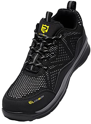 LARNMERN PLUS Zapatos de Seguridad Hombre Ligeros, Zapatillas de Seguridad Hombre Trabajo Comodos Punta Acero Calzado Seguridad Deportivo Antideslizante Antiperforación Verano(Negro,41EU)