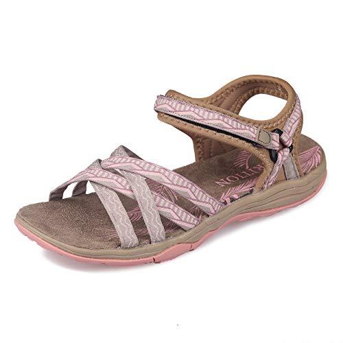 GRITION Sandalias Senderismo Mujer, Niñas Deportes Zapatos de Agua Verano Sandalias Planas Cruzadas Punta Abierta Zapatos de Caminar Ajustables Negro Rosa Arena Gris (40 EU, Arena/rosa)