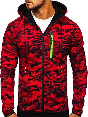 BOLF Hombre Sudadera con Capucha Cierre de Cremallera Diseño Camuflaje J.Style DD99-2 Rojo M [1A1]