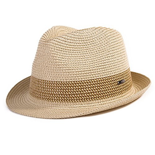 Comhats Paja Unisex Sombrero Hombres Empacables Mujeres Fedora Trilby Panamá Verano ala Corta Beige M