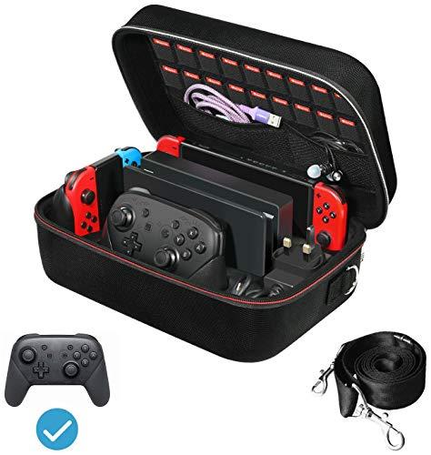 ivoler Funda para Nintendo Switch y Switch OLED, Estuche Dura de Transporte de Lujo, Carcasa Rígida de Viaje para Consola, Adaptador AC, Joy-con Grip, Strap Joy-con, 18 Cartuchos de Juegos y Otros