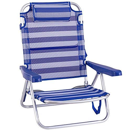 Silla Playa con cojín de 4 Posiciones de Aluminio y textileno de 61x47x80 cm (Azul y Blanco)