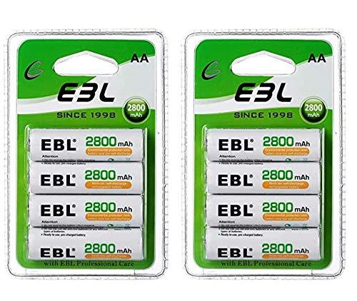EBL 2800mAh Pilas Recargables 8pcs AA Ni-MH 1200 Ciclo Alta Capacidad (No es 1.5V)