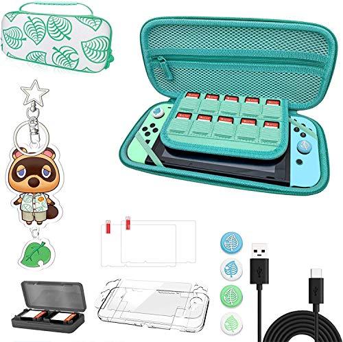 Animal Crossing Case Kit con accesorios, funda de almacenamiento portátil Animal Crossing con asa para Nintendo Switch [13 en 1]