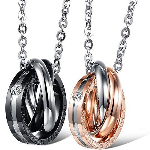 JewelryWe Amor Eterno Novios, Acero Inoxidable Collares Parejas Hombre Colgante de Anillos Negro Oro Rosa 3 Círculos, Regalo de San Valentín