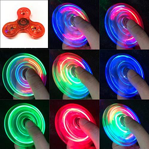 QERMULA Luz LED Transparente Fidget Spinner Mano Top Spinner EDC Spiner Niños Adultos Juguete Light Fidget Spinner Rojo