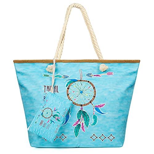 Weinsamkeit Bolso de Playa Grande, Bolsa de Playa para Mujer, Totalizador de Lona Shopper Bolsa de Hombro, Impermeable con Cremallera (F)