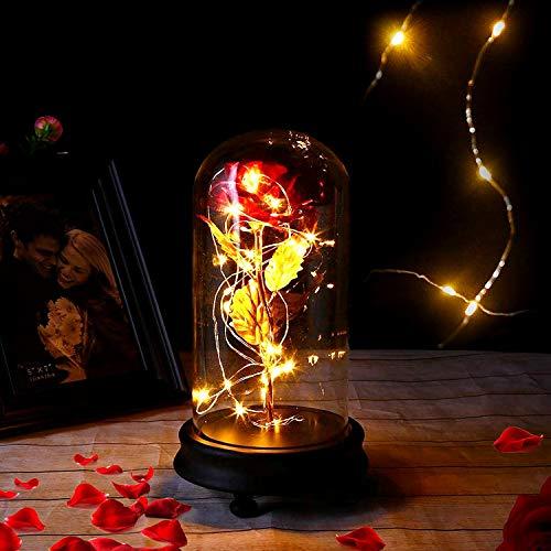 Kit de Rosas, Rosa Eterna Rosas Bella y Bestia, Rosa Roja con Cúpula De Cristal, Equipada con Luz LED De Base De Plástico, Que Se Utilizan para La Decoración del Hogar, Bodas, Cumpleaños