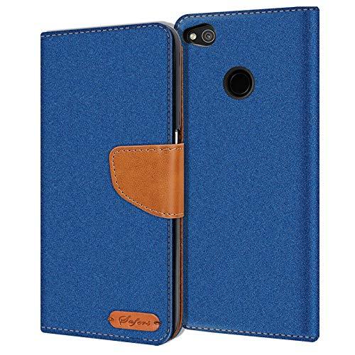 Verco Art Funda de Cuero Huawei P8 Lite 2017, Funda para teléfono móvil para Huawei P8 Lite 2017 Funda de Libro Tela, Azul
