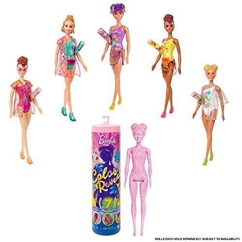 Barbie Color Reveal Arena y Sol, muñeca sorpresa con bañador y accesorios de moda de verano de juguete Mattel GTR95