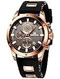 MEGALITH Reloj Hombre Negro Cronografo Reloj Grande Hombre Deportivo Analógico Reloj de Pulsera de Goma Impermeable Luminosos