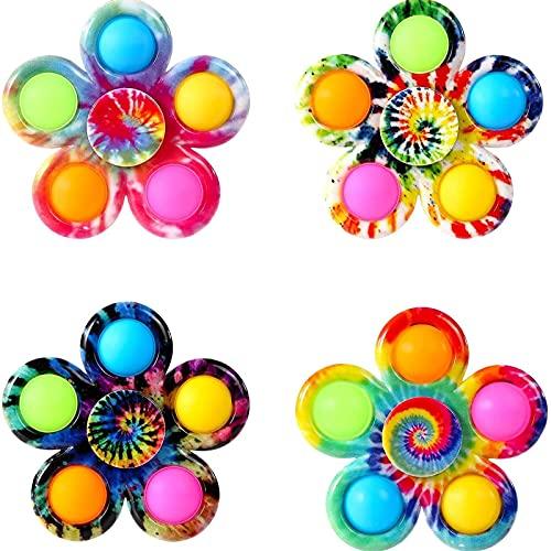 AHURGND 4 unids Fidget Spinner Popits Spinners Toys, juguete de Fidget, AM-Ong EE. UU. Conjunto de juguetes de Fidget Sensory, Tie-Dye Bubble Spinner Spinner Spinner, alivio del estrés y juguetes cont