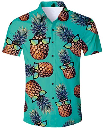 ALISISTER Camisa Hawaiana Hombre Manga Corta con Estampado de piña Camisa Luau de Hawai Tropical Hombres Casual Retro Aloha Holiday Button Down Vacation Shirts M