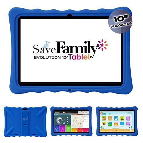 Tablet Evolution SaveFamily 10' para niños & Adolescentes. WiFi Y Datos SIM. Doble Control Parental, Control de Contenido, Anti-Bullying, Juegos. Funda Silicona. Marca española. (Azul)