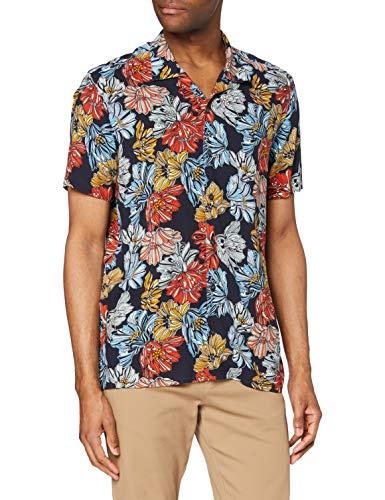 find. Camisa Hawaiana de Manga Corta Hombre, Azul (hawaiano), S, Label: S