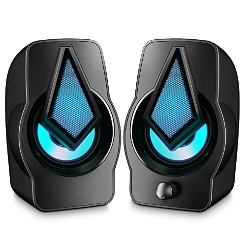 Altavoces PC, 10W Altavoz 2.0 USB Gaming Sobremesa, Parpadeo Rítmico, Sonido Estéreo, Control Integrado, LED RGB Mejorado para Escritorio, Móvil, Casa, Oficina, Fiesta, Ordenador Portátil