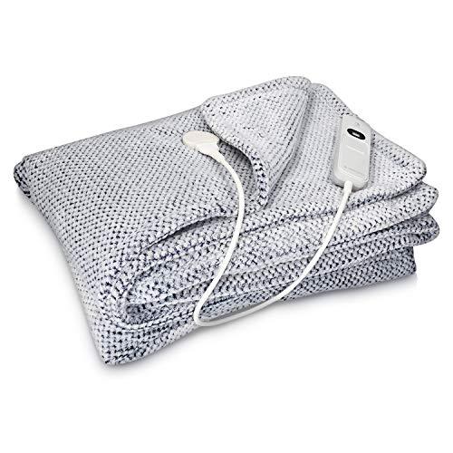 Navaris Manta eléctrica con termostato - Colcha XXL lavable 180 x 130 CM - Manta térmica con regulador de temperatura 3 niveles - Azul y gris