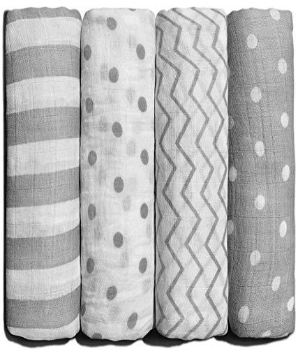 CuddleBug Mantas de Muselina Unisex - Paquete de 4 - Sabanas de Envolver, Paños de Algodon 100% - Tamaño Grande 120x120cm - Mantas Suaves de Lactancia Multiuso - (Puntos y Rayas)