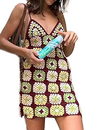 ADYD 90s Vintage Mujeres Halter Cuello Crochet Vestido de punto Sexy Deep V-cuello Backless Rayas Mini Vestido Fiesta Club Streetwear