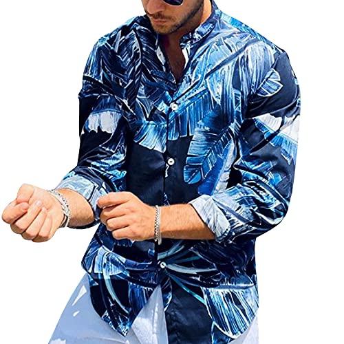 Binggong Camisa de manga larga para hombre, para otoño e invierno, corte regular, camisa básica, camisa de trabajo, camisa hawaiana impresa, chaqueta de punto fina, informal, fitness, ropa deportiva