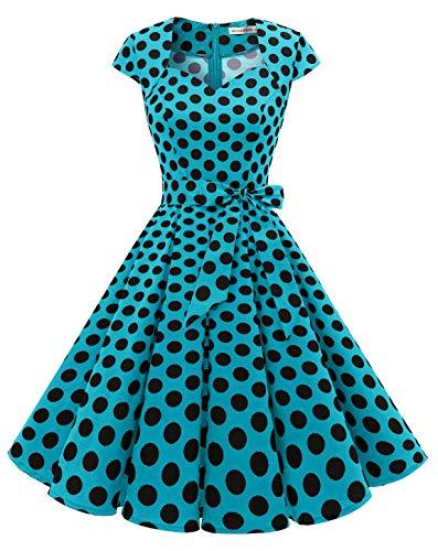 MUADRESS Vestidos Vintage Mujer Retro Años 50 y Elegantis Cocktail Party Collar Casual en Forma de Corazón 1960BlueBlackDotB S