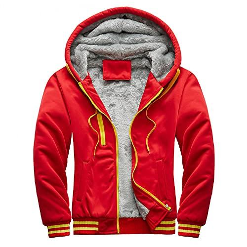 RYTEJFES Chaqueta de invierno de forro polar con capucha y cremallera para hombre, con forro de felpa, cálida, abrigo de invierno para hombre, estilo informal con capucha, rojo, XL