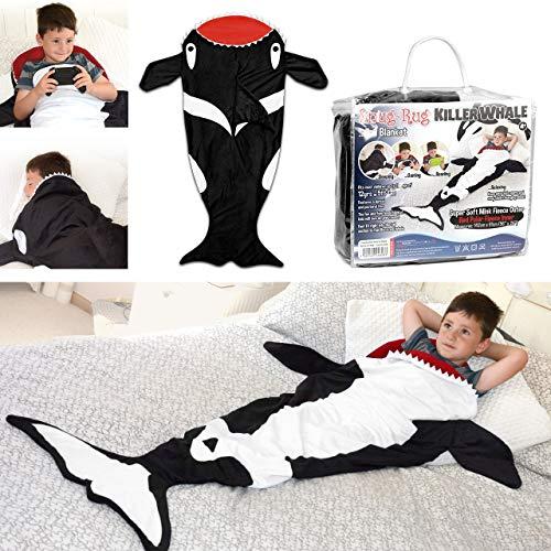 Snug Rug - Manta para niños con Forro Polar, diseño Cola de Orca, Color Negro y Blanco