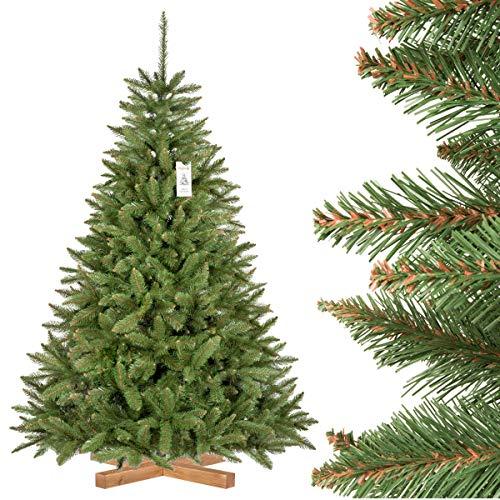 FairyTrees Árbol de Navidad Artificial, Pícea Natural, Tronco Verde, PVC, Soporte de Madera, 180cm, FT01-180