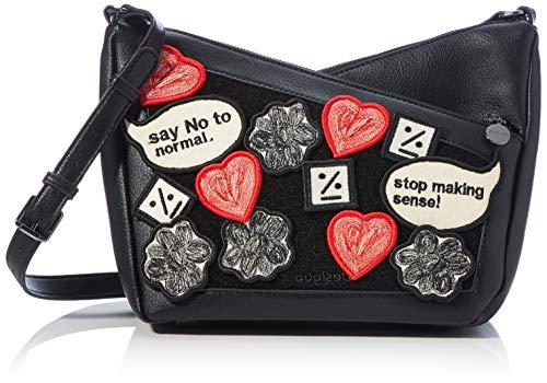 Desigual Accessories PU Across Body Bag, Bolsa para Cuerpo Mujer, negro, U