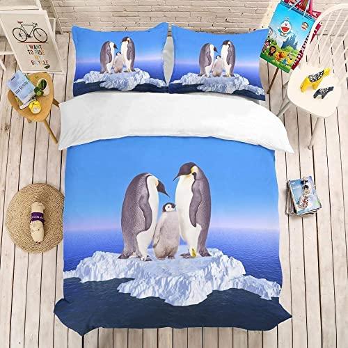 Funda Nordica Cama 90 PingüIno Iceberg Microfibra Funda de Edredón 150x220 cm con Cremallera y 1 Funda de Almohada 50x80 cm para Cama Individual