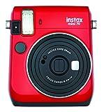 Fujifilm Instax Mini 70 - Cámara analógica instantánea (ISO 800, 0.37x, 60 mm, 1:12.7, flash automático, modo autorretrato, exposición automática, temporizador, modo macro), rojo pasión