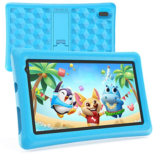 Tablet Niños 7 Pulgadas Android 10 Quad Core BENEVE Tablets PC para Niños WiFi Bluetooth 1024x600 Tablet Infantil 2GB 16GB Doble Cámara Kid-Proof Funda Tablet Niños Educativo (Azul)
