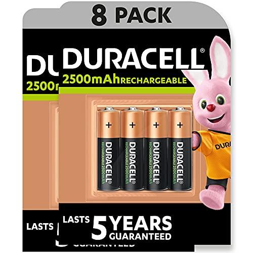 Duracell - Pilas Recargables AA 2500 mAh, paquete de 8