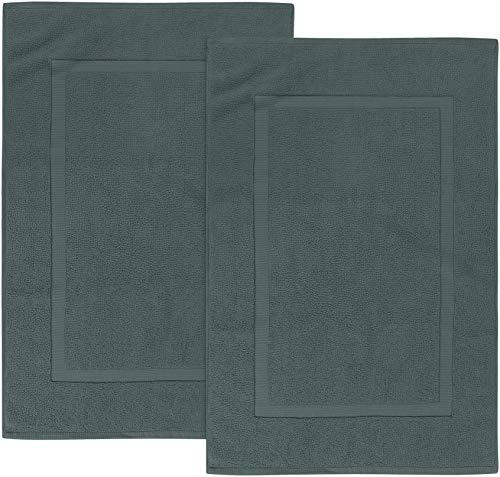Utopia Towels - 2 alfombras de baño de algodón, (53 x 86 cm), 100% algodón Hilado en Anillos - Toalla de baño para Ducha Altamente Absorbente y Lavable a máquina (Gris)