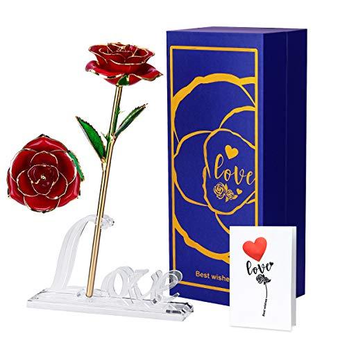 Rosa de Oro 24K,Regalo para Madres Rosas Artificiales,Rosa Eterna Flores Chapadas en Oro,Decor Romántica para San Valentín Aniversario Boda Cumpleaños