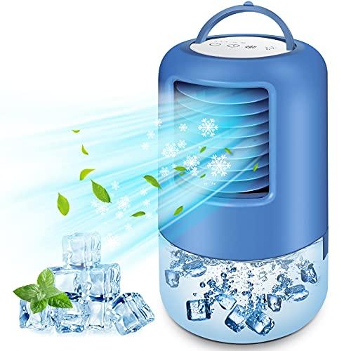 BILIFIT Aire Acondicionado Portátil, 4 en 1 Mini Enfriador de Aire, Ventilador, Humidificador, 3 Velocidades, 2/4h Temporizador, 7 Colores LED, Climatizador Evaporativo Portátil para Hogar Oficina