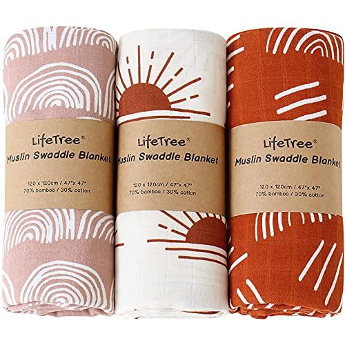 LifeTree Pack de 3 Mantas Muselinas Bebe, Muselina Bebe de Bambú Algodon 120x120 cm, Súper Suave Mantas Envolventes de Muselina
