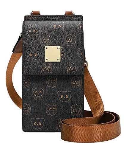Bolso de Teléfono móvil para Mujer Bolso de Hombro de Cuero Crossbody Bag Correa Ajustable Pequeño Bolso Bandolera con Ranuras para Tarjeta soportar