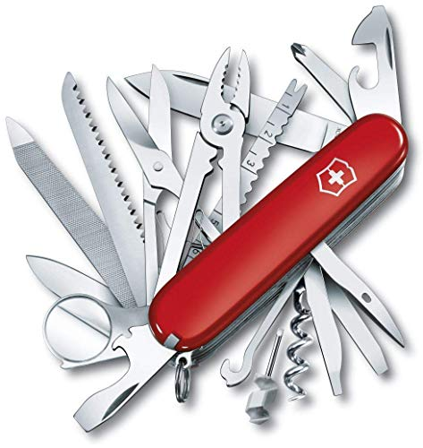 Victorinox Swiss Champ Navaja con 33funciones, incluyendo alicates combinados, alfiler, alicates y tijeras, de color rojo