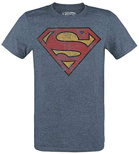 Superman T-Shirt Camiseta, Azul, L para Hombre