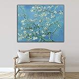 Desconocido Cuadro Lienzo Flor de Almendro Vicent Van Gogh – Varias Medidas - Lienzo de Tela Bastidor de Madera de 3 cm - Impresion Alta resolucion (60, 47)