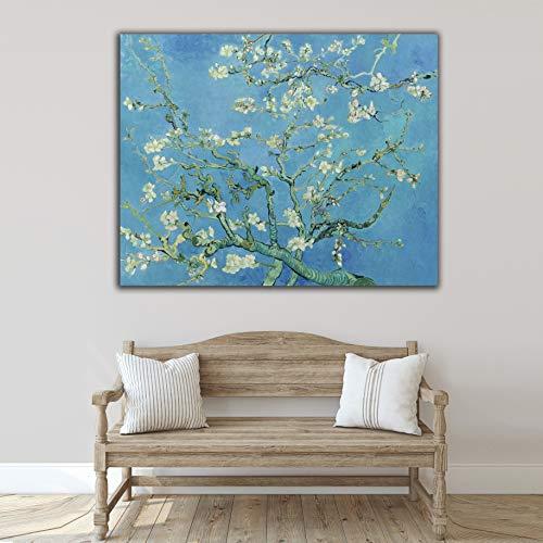 Desconocido Cuadro Lienzo Flor de Almendro Vicent Van Gogh – Varias Medidas - Lienzo de Tela Bastidor de Madera de 3 cm - Impresion Alta resolucion (80, 63)